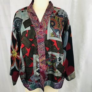 Burning Torch vintage silk cropped Kimono